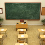 Empty school classroom with blackboard for training. 3D rendering.